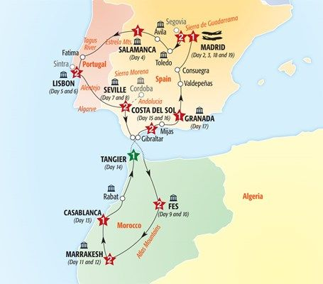 Map Of Spain Morocco And Portugal.Treasures Of Spain Portugal Morocco In 2019 Travel Portugal