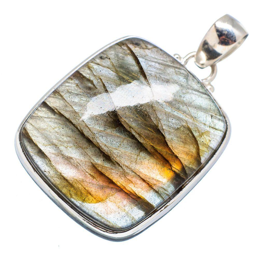 """Labradorite 925 Sterling Silver Pendant 1 1/2"""" PD568087"""