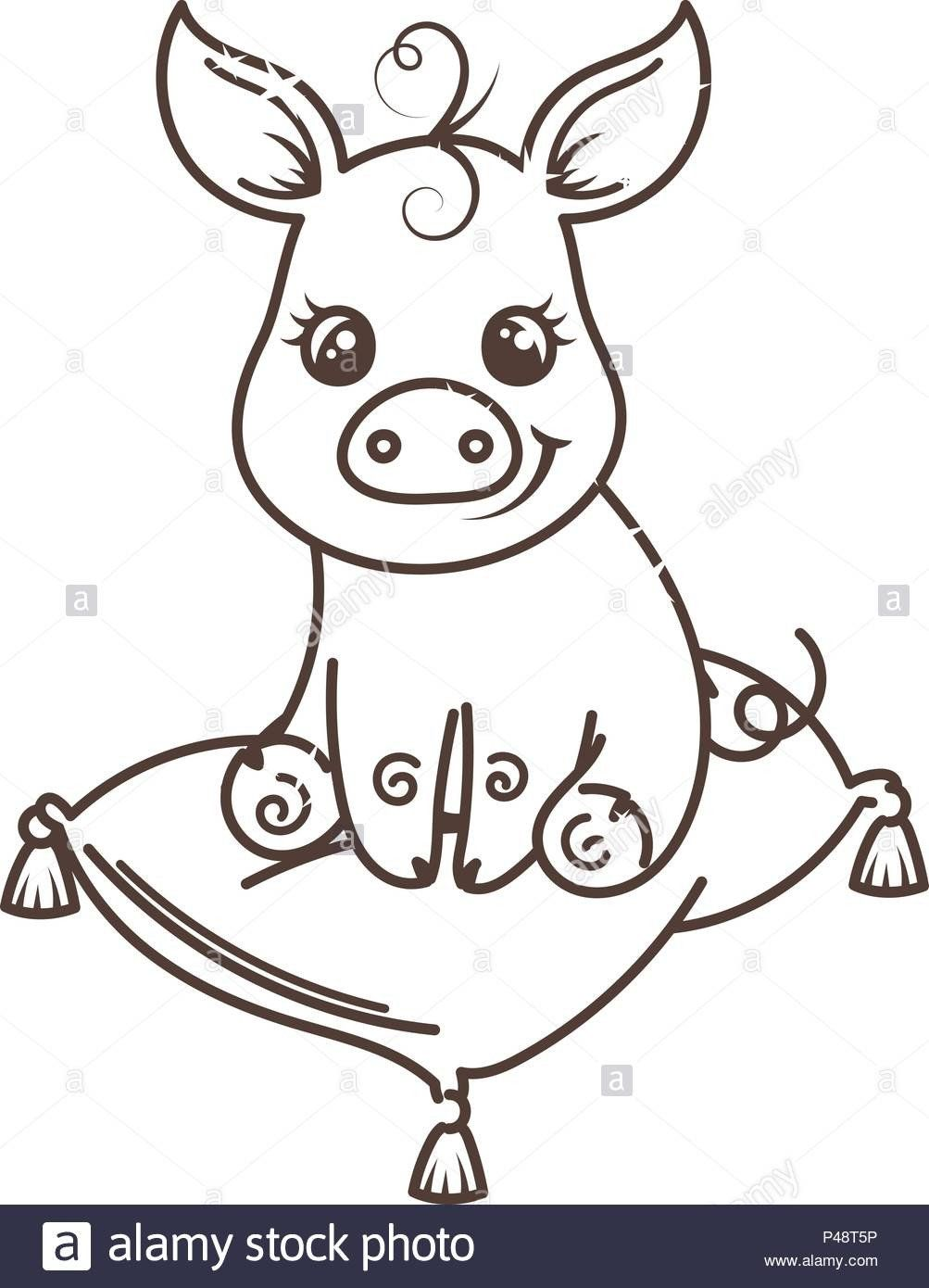 Coloring Pages Of Cute Pigs Cute Cartoon Baby Pig Vector Illustration Coloring Page Cute Pigs Cute Baby Pigs Baby Pigs