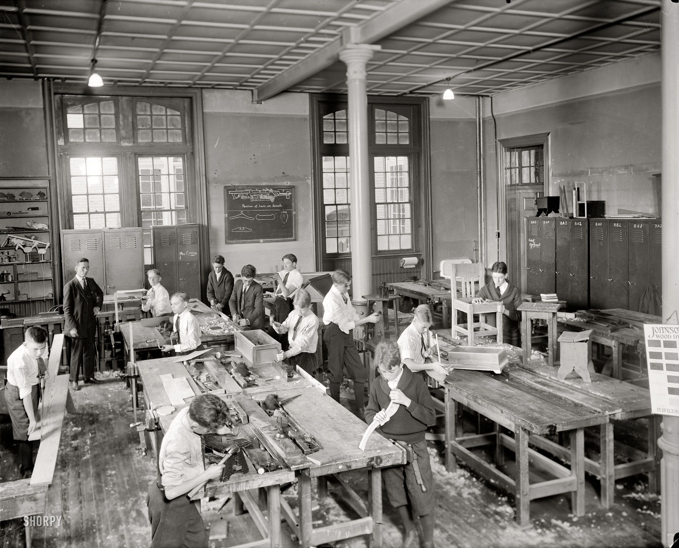 Washington D C Circa 1921 Junior High School Shop Interesting I Wonder Who Put The Giant Hole In The Wi With Images Carpentry Classes Junior High School Shop Class