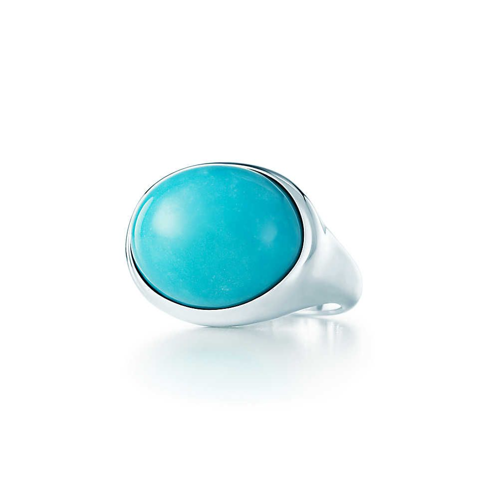 f5ef5ec72 Elsa Peretti® Cabochon ring in sterling silver with turquoise, 19 mm wide.  | Tiffany & Co.