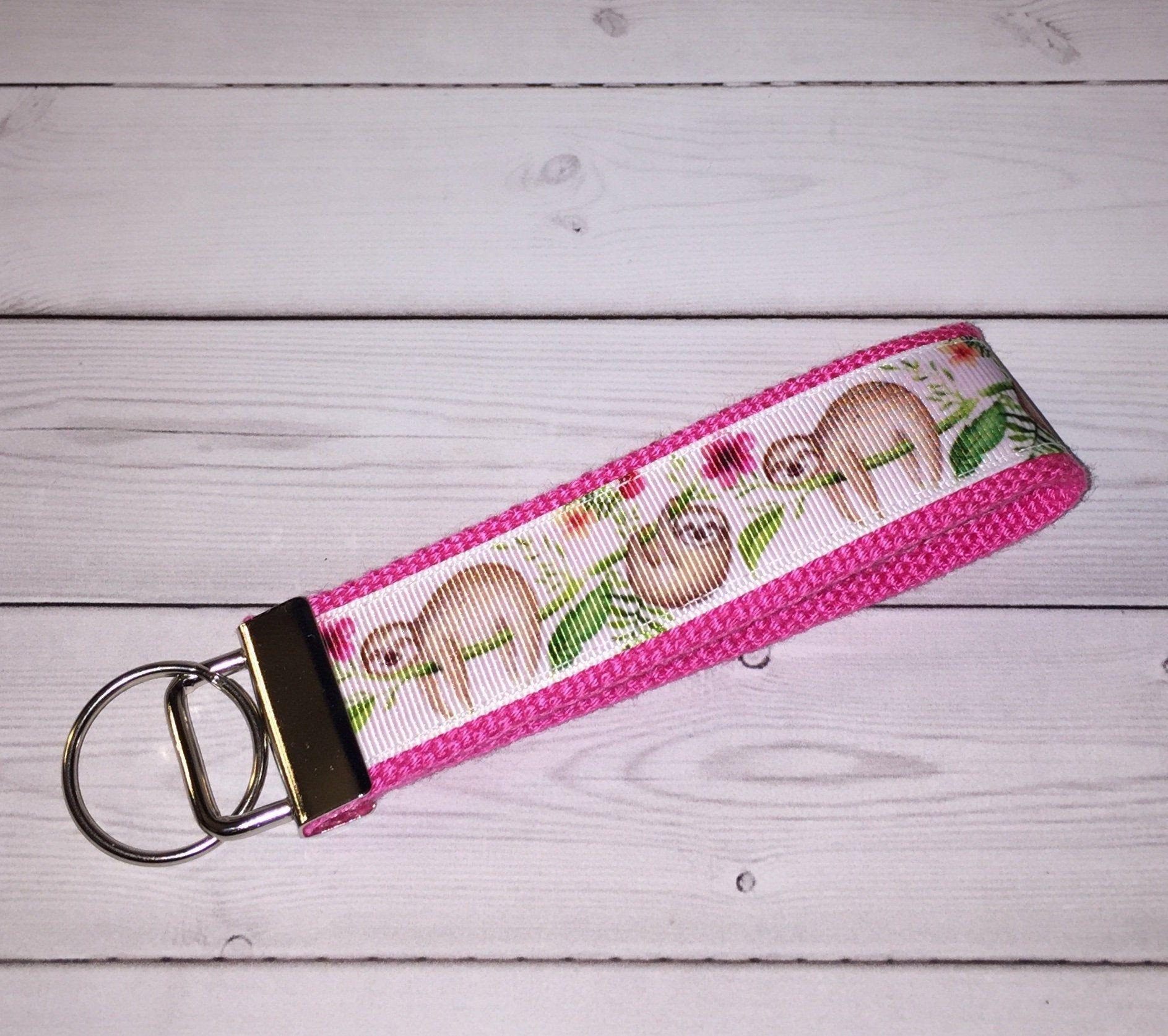 Baby Sloth Wristlet Key Fob Keychain and Scrunchie Set