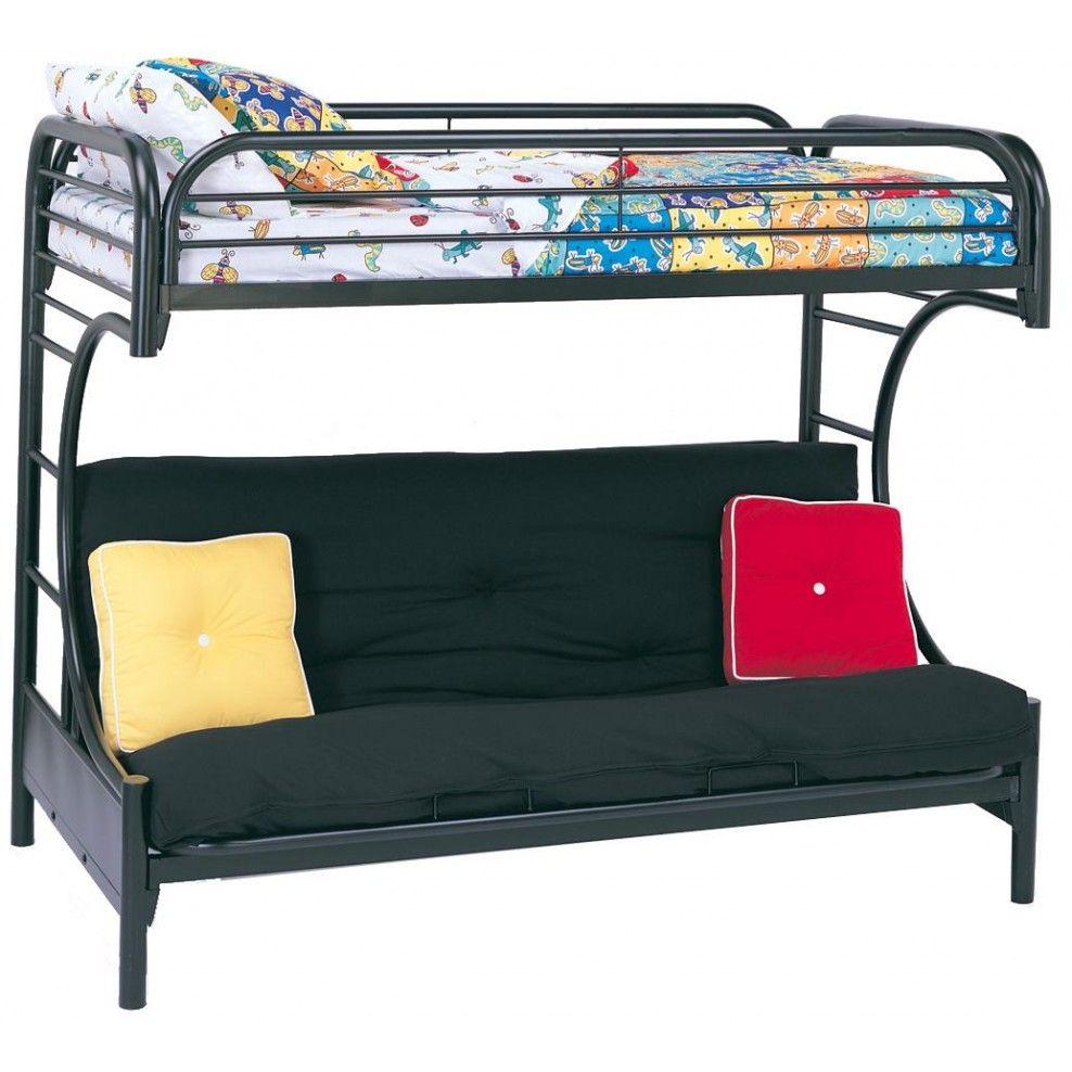 Fordham C Style Twin Over Full Futon Bunk Bed In Black Futon