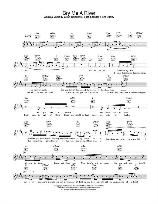 Justin Timberlake Cry Me A River Sheet Music Notes Chords Score Download Printable Pdf Sheet Music Notes Sheet Music Timberlake
