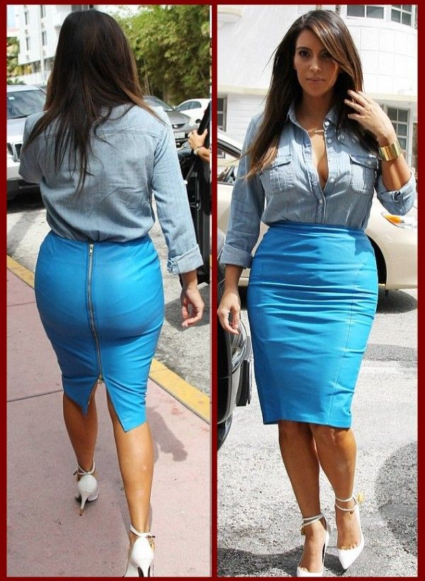 Kim Kardashian Show Her Generous Curves in Tight Blue Leather ...