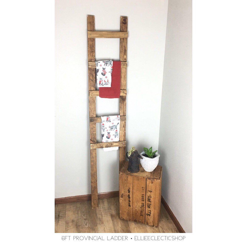 Wooden decorative ladder 5ft 6ft Rustic towel ladder