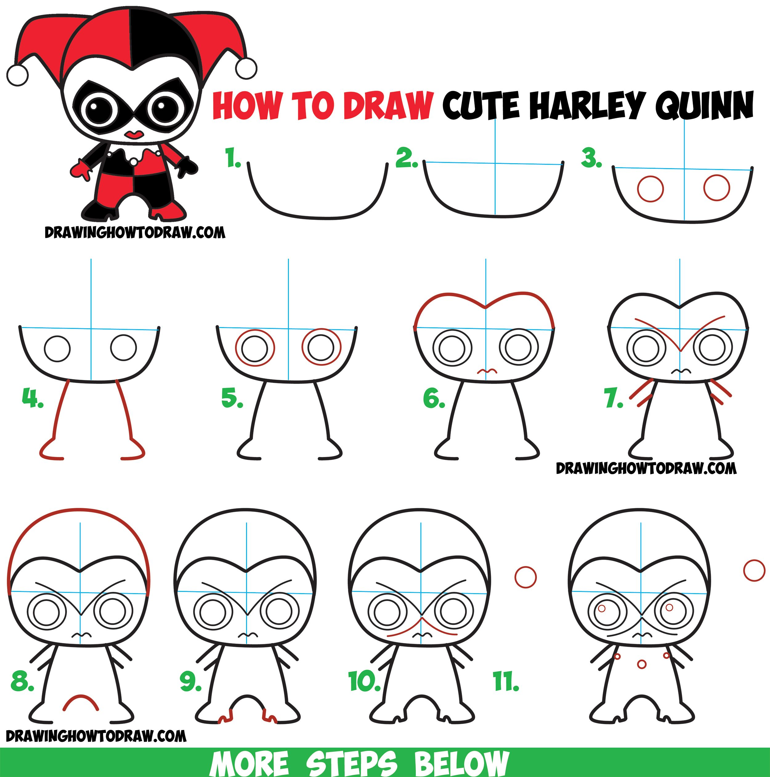 How to draw cute chibi harley quinn from dc comics in easy for Drawing ideas for beginners step by step