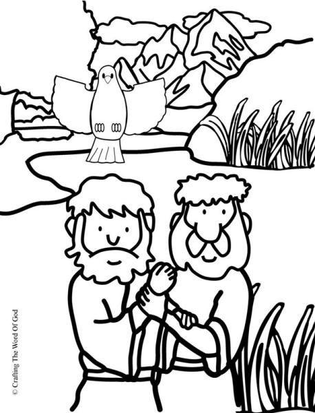 Jesus Baptism Coloring Page | bible town | Pinterest | Kindergarten ...