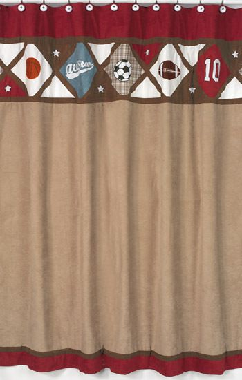 All Star Sports Boys Kids Bathroom Fabric Bath Shower Curtain