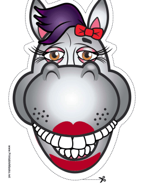 Printable Horse With Bow Mask Mask Printable Animal Masks Horse Mask Animal Masks