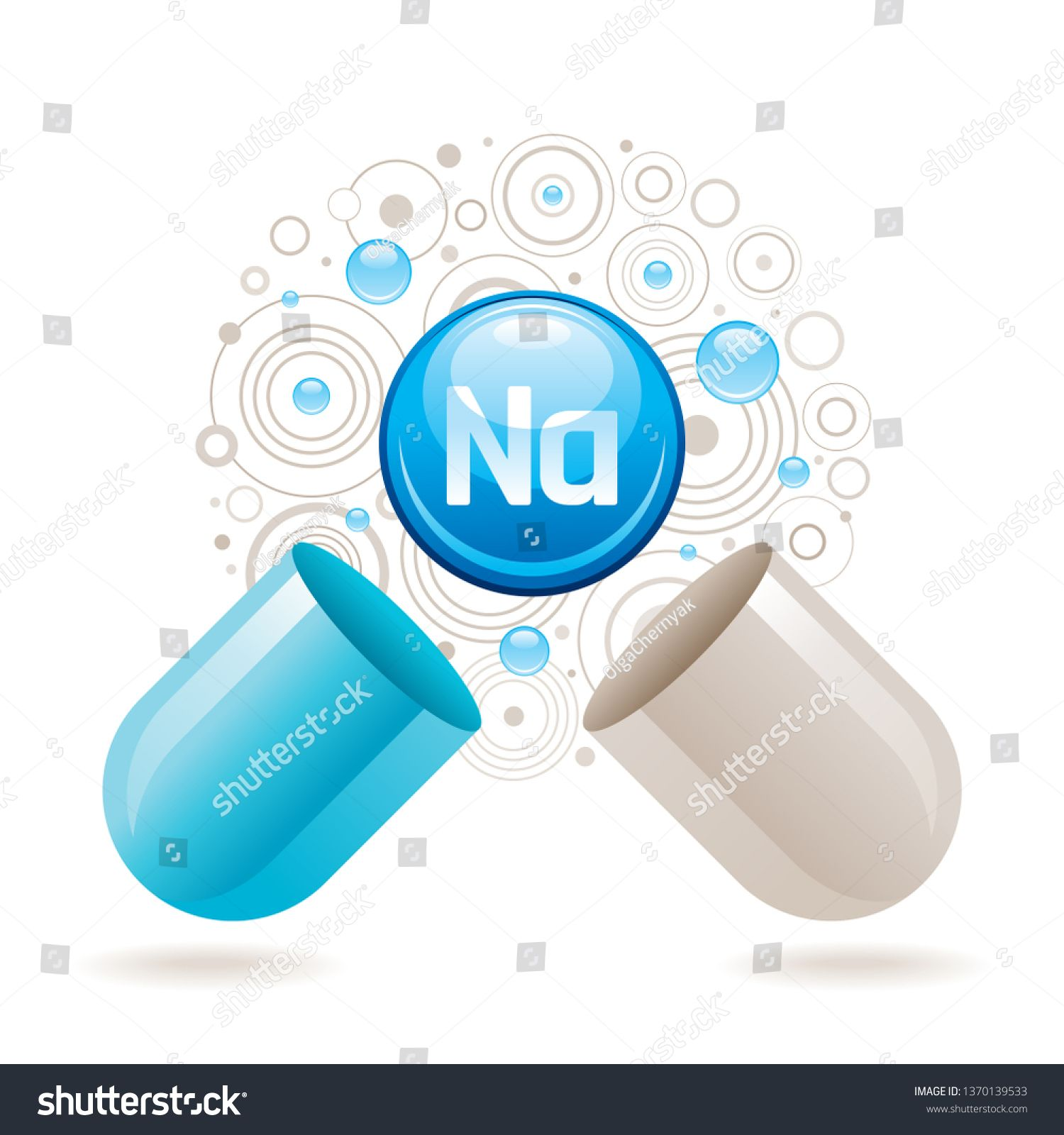 Mineral Vitamin Sodium Supplement For Health Capsule With Na Element Icon Healthy Diet Symbol 3d Color Ball Isolated On White Back Minerals Capsule Vitamins