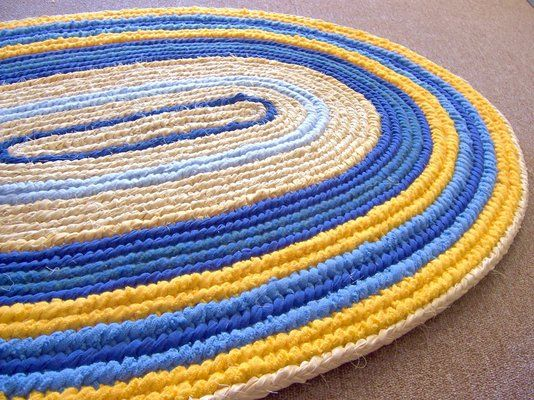 Custom Made Oval Rag Rug Woven Toothbrush Yellow And Blue Naalbinding Rug Med Billeder Taepper Gulv