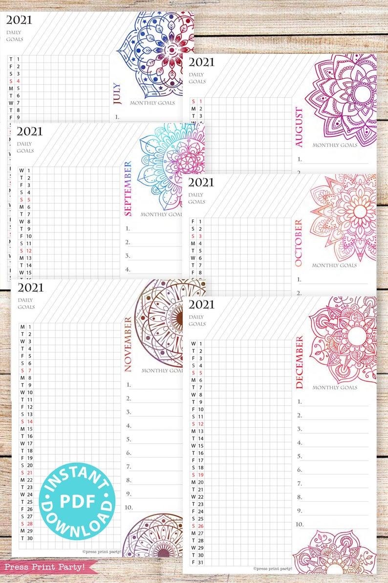 2021 Calendar Printable Template Set Mandala Watercolor ...
