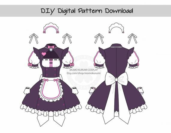 Diy Neko Maid Pattern Size Small In 2020 Maid Outfit Maid