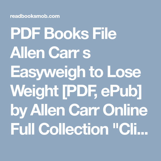 The Easy Way To Lose Weight Allen Carr Pdf