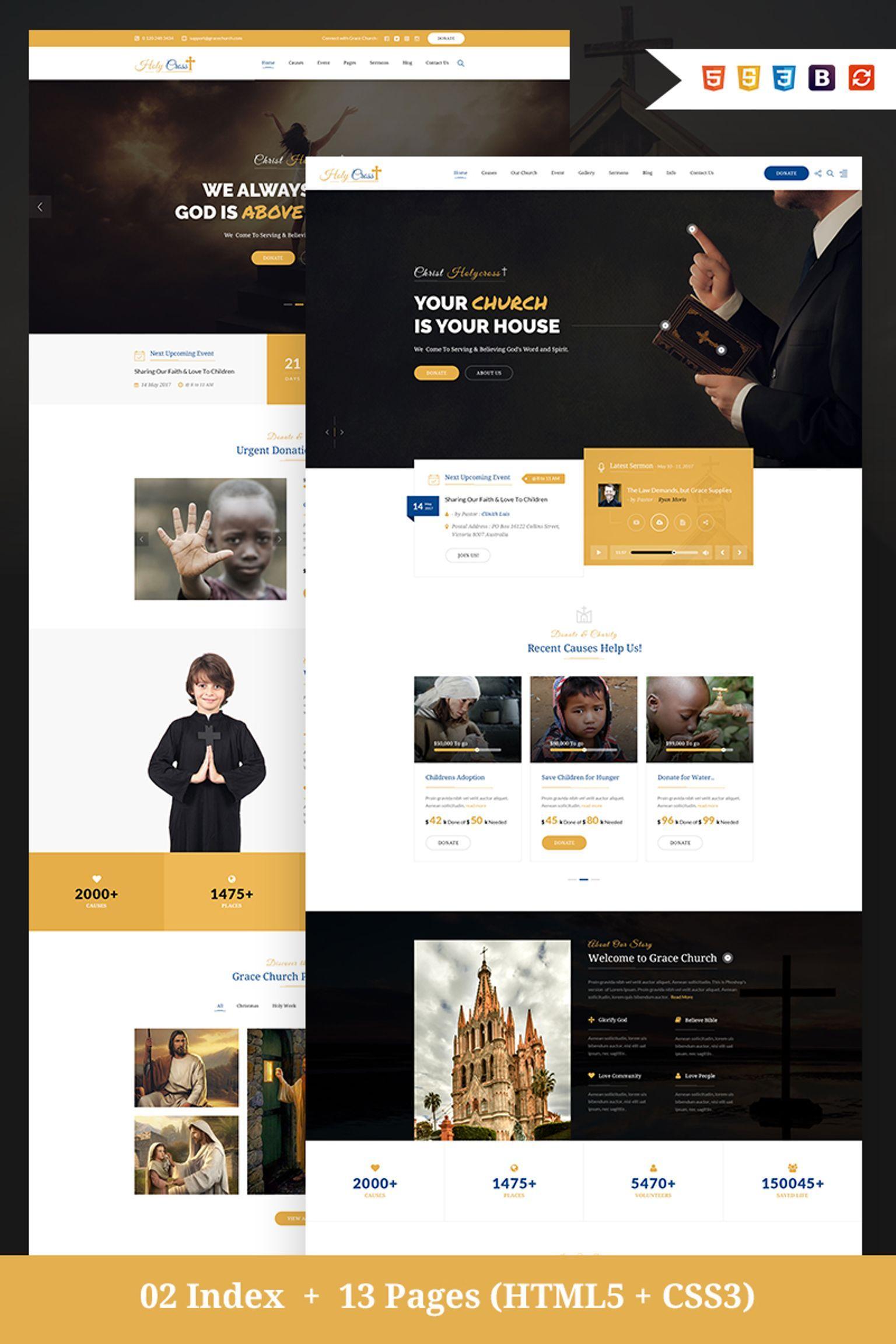 Holy Cross Charity Church Bootstrap Html Website Template 67191 Church Website Design Web Design Websites Website Design Inspiration