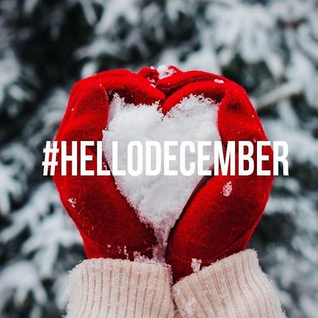 Hello December Winter Snow Heart Quote