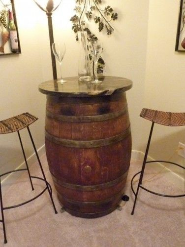 Cute Wine Barrel Table For My New Bar In Our Basement