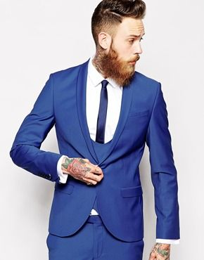 Noose & Monkey Cobalt Blue Skinny Suit With Shawl Collar | Mike