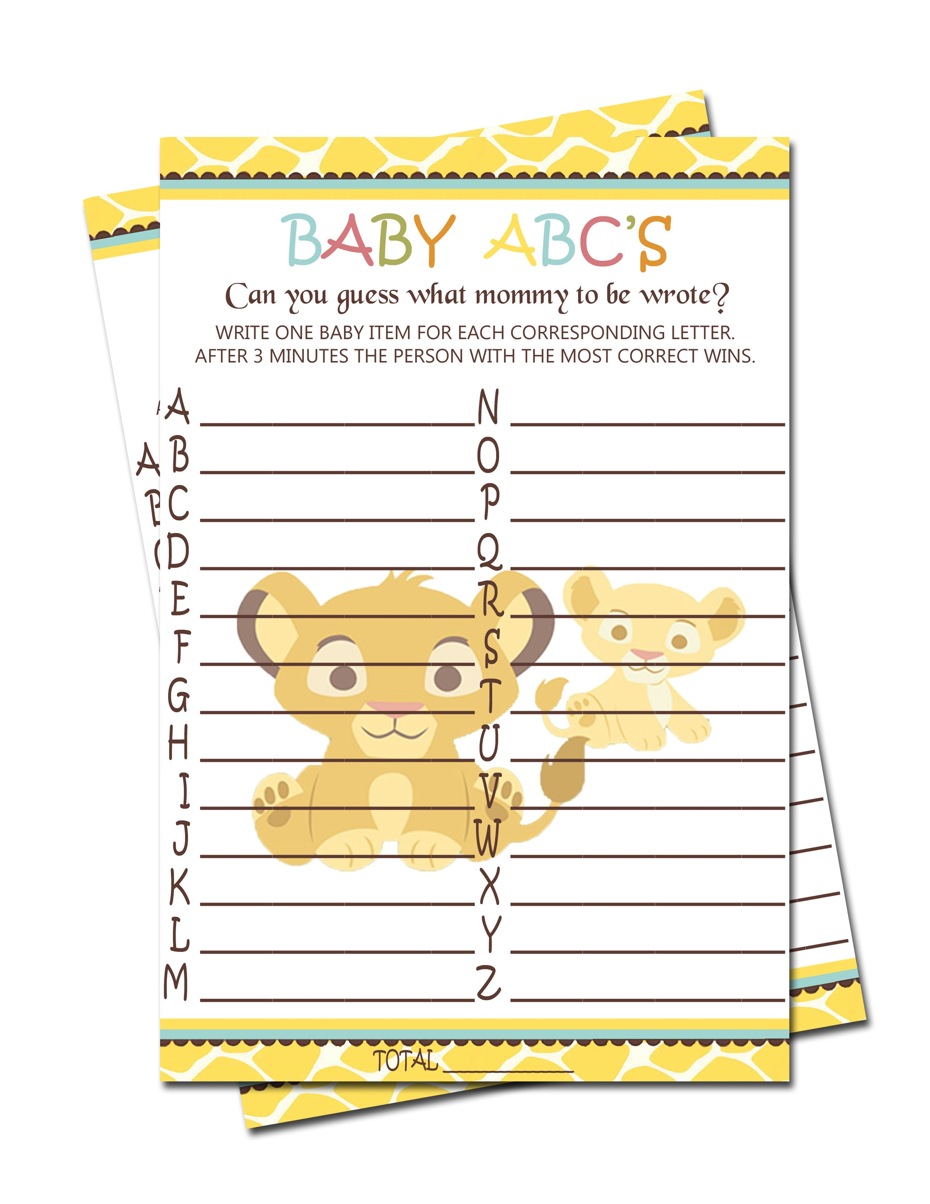 Simba Lion King Baby ABC\'S Game - Baby Shower Games $3.99 | Simba ...