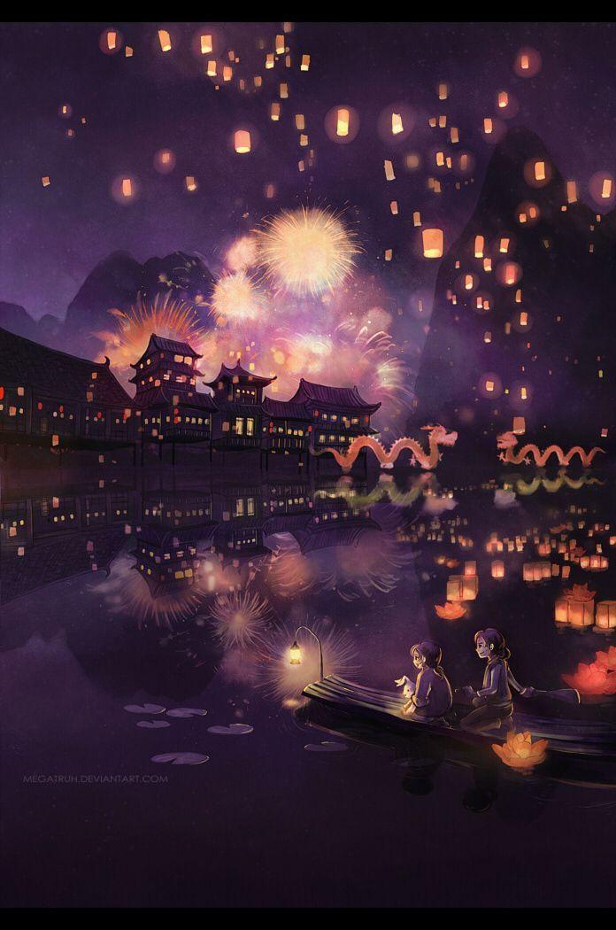Lantern Festival Pemandangan Anime Pemandangan Langit Malam