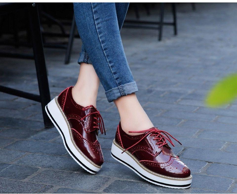 Fashion Patent Leather Oxford Platform