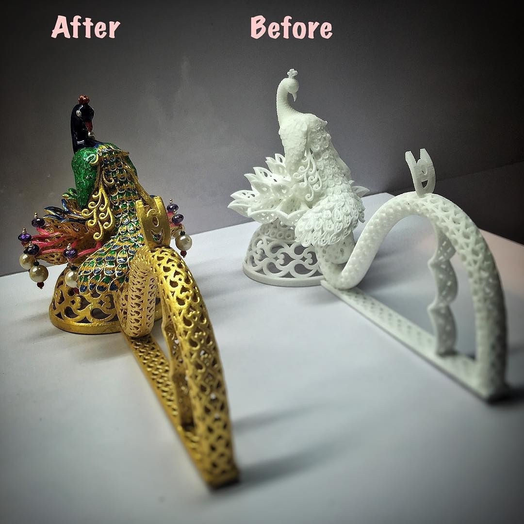 Transforming a 3D print completely with our skills. #3dprintingindia#postprocessing#24kgold #goldfoil#3dprinting#peacock#golden#art#creativity#skill#makeover#enamal by cremagine
