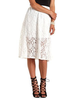 High-Waisted Lace Full Midi Skirt: Charlotte Russe
