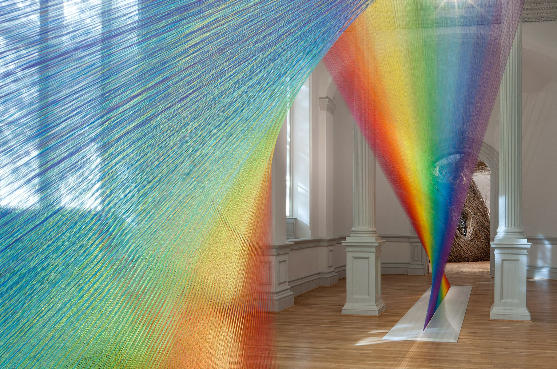 Miles of Thread and a Giant Needle Weave Indoor Rainbows | Gabriel ... for Light Installation Art Indoor  35fsj