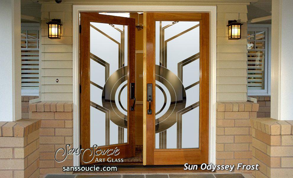 Sun Odyssey Etched Glass Front Doors Art Deco Design Home Decor