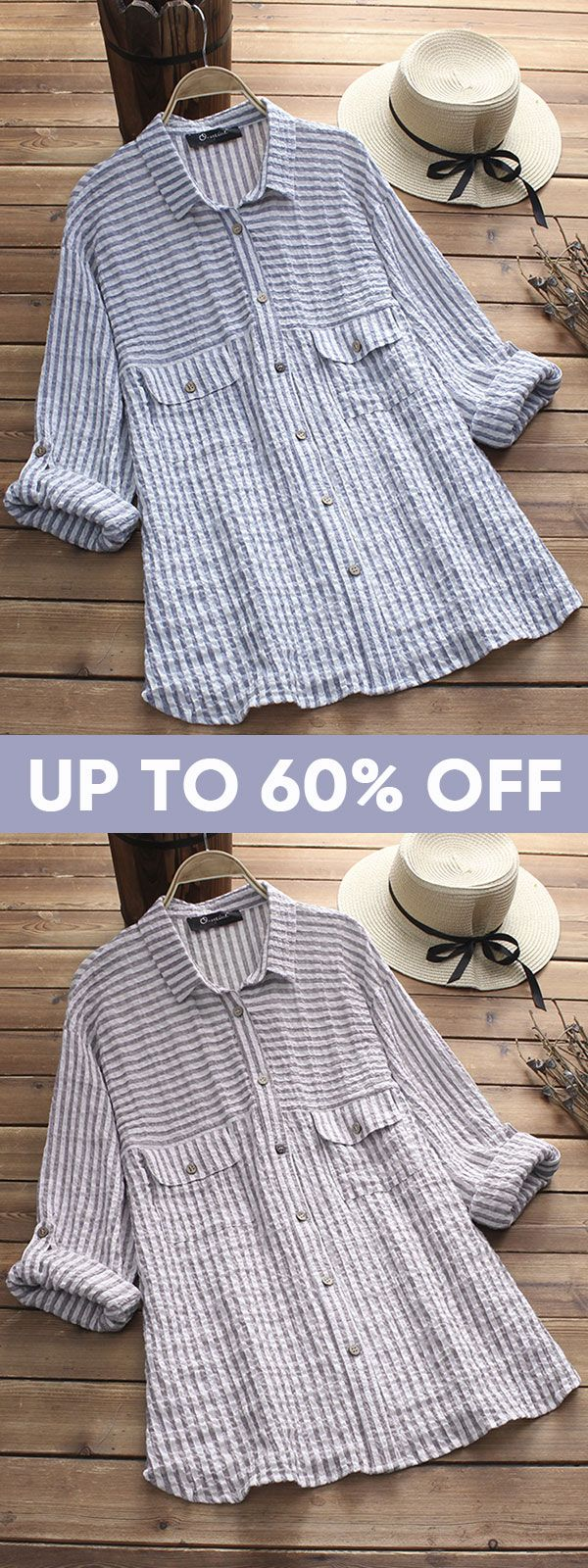 Onewe vintage lapel striped shirts with pockets stripe vintage