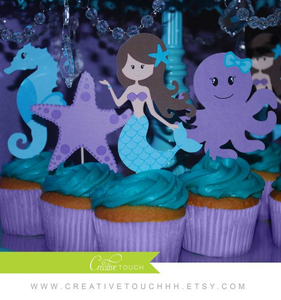 Birthday Table Acnl: Mermaid Cupcake Toppers, The Little Mermaid, Mermaid
