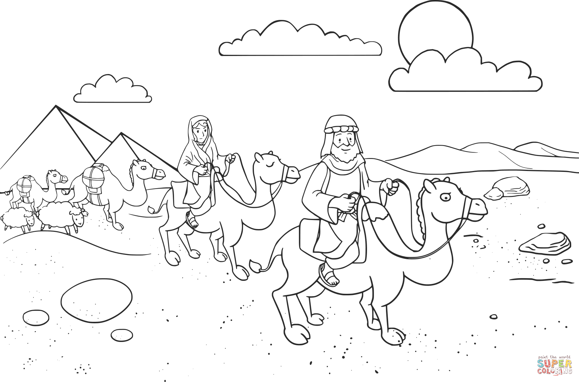 Abram Amp Sarai Leaving Egypt Coloring Page From Abraham Category Select From Printable
