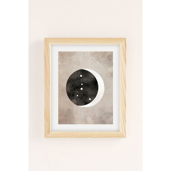 Claire Goodchild Moon & Stars Cancer Art Print ($19) ❤ liked on Polyvore featuring home, home decor, wall art, natural wood frame, wooden wall art, star wall art, wood home decor, wooden home decor and moon wall art