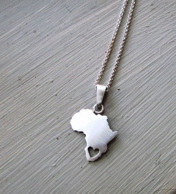 Africa necklace heart cut out south africa continent pendant africa necklace heart cut out south africa continent pendant sterling silver handmade chain included african africa jewelry audiocablefo