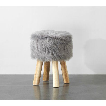 Mainstays Round Faux Fur Stool Charcoal