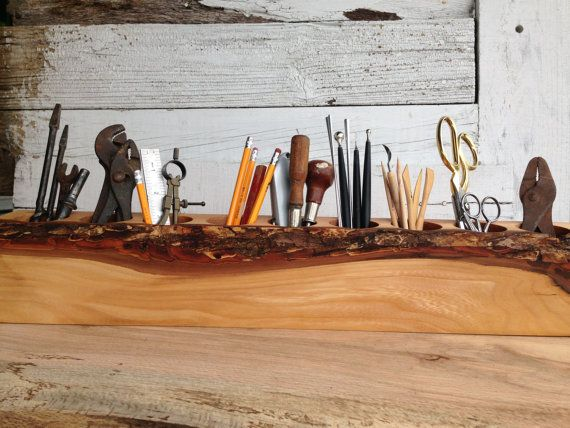 Extra Large Desk Caddy Organizer from Reclaimed Elm Wood