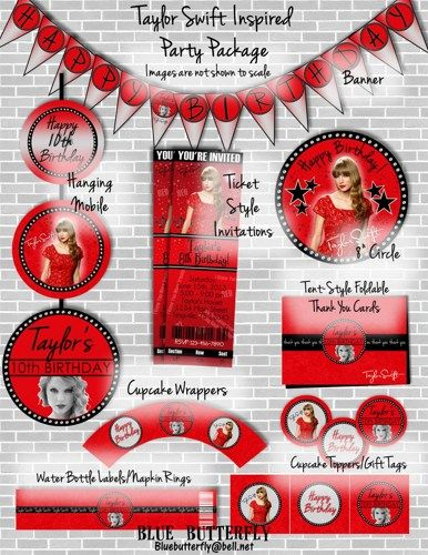 Taylor Swift Red Party Pack Printable Customized With Party