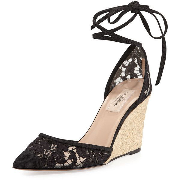 Valentino Point-Toe Lace Espadrille Wedge, Black found on Polyvore