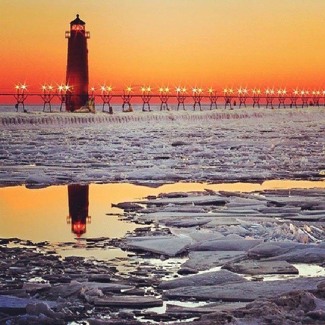 Grand Haven Michigan at sunrise-photo by Jeff Barrett--FOX-17