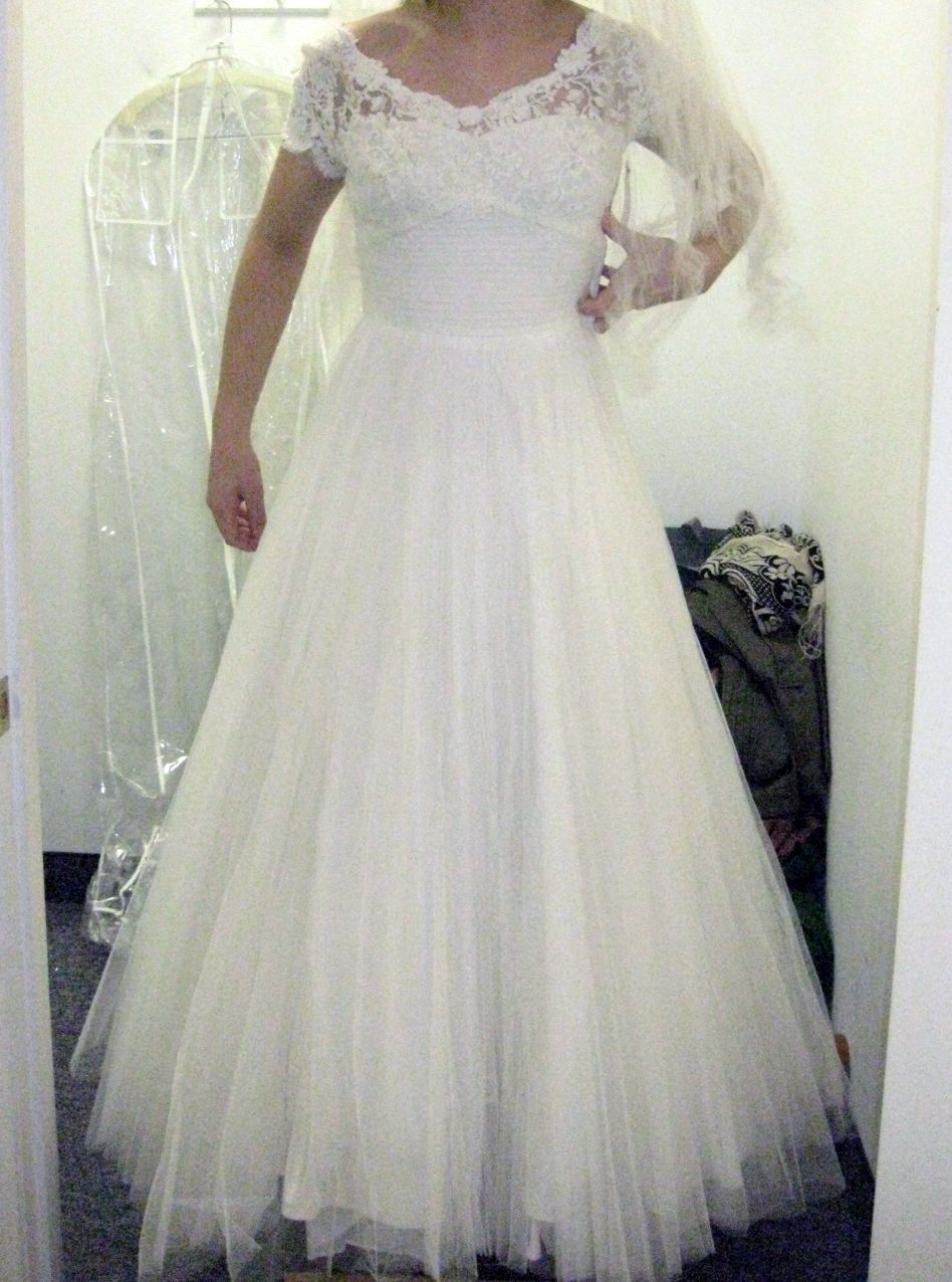 Vintage Wedding dress found in Westbrook, CT.  Hope this one works out!
