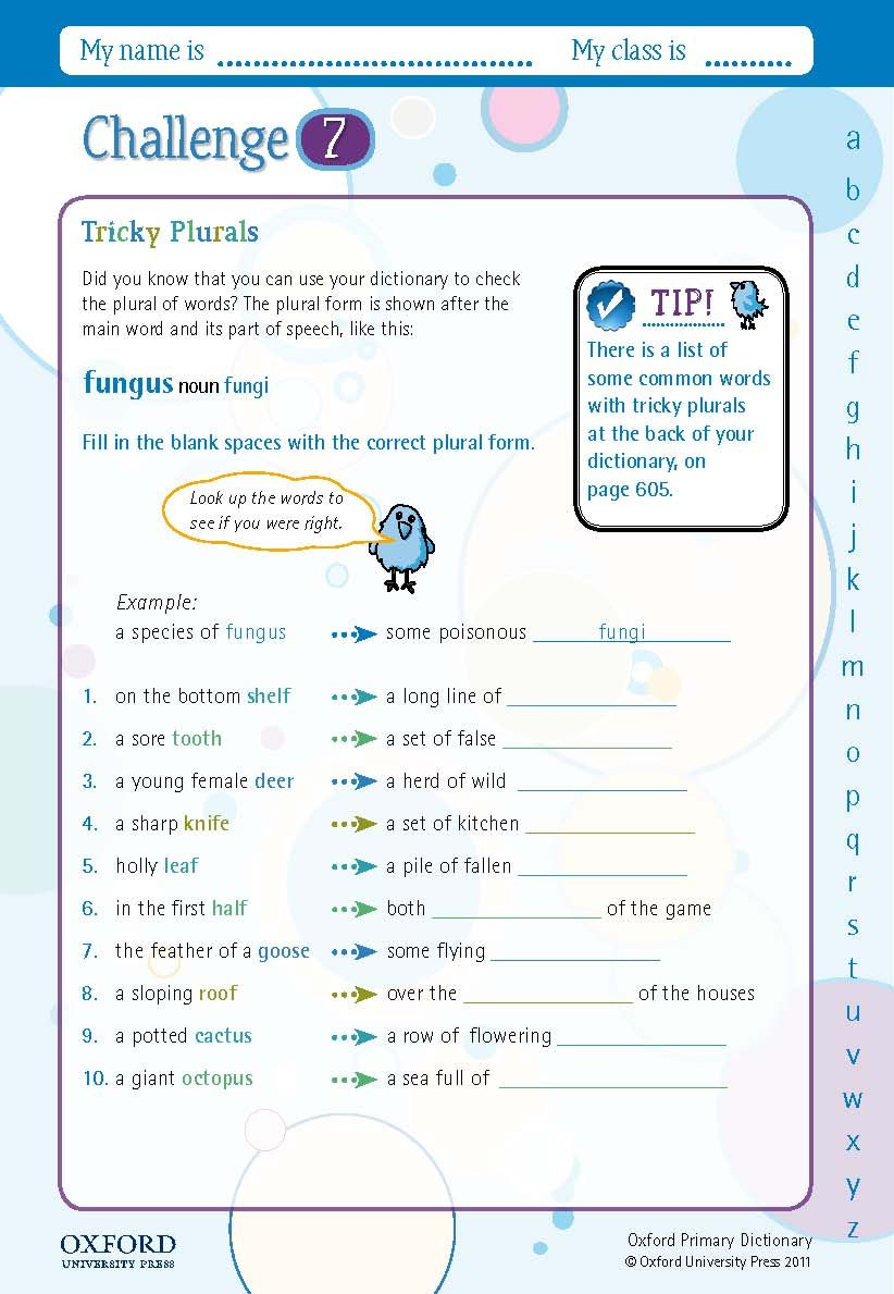Download Your Free Oxford Primary Dictionary Challenge Worksheet Fill In The Blank Spaces With The Correct Plural F Dictionary How To Find Out Parts Of Speech [ 1189 x 822 Pixel ]