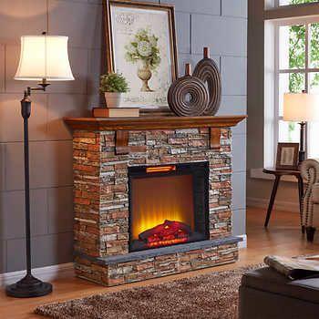 Pinehouse Polyfibre Electric Fireplace With 52 In Mantel Chimeneas Modernas Chimeneas Moderno