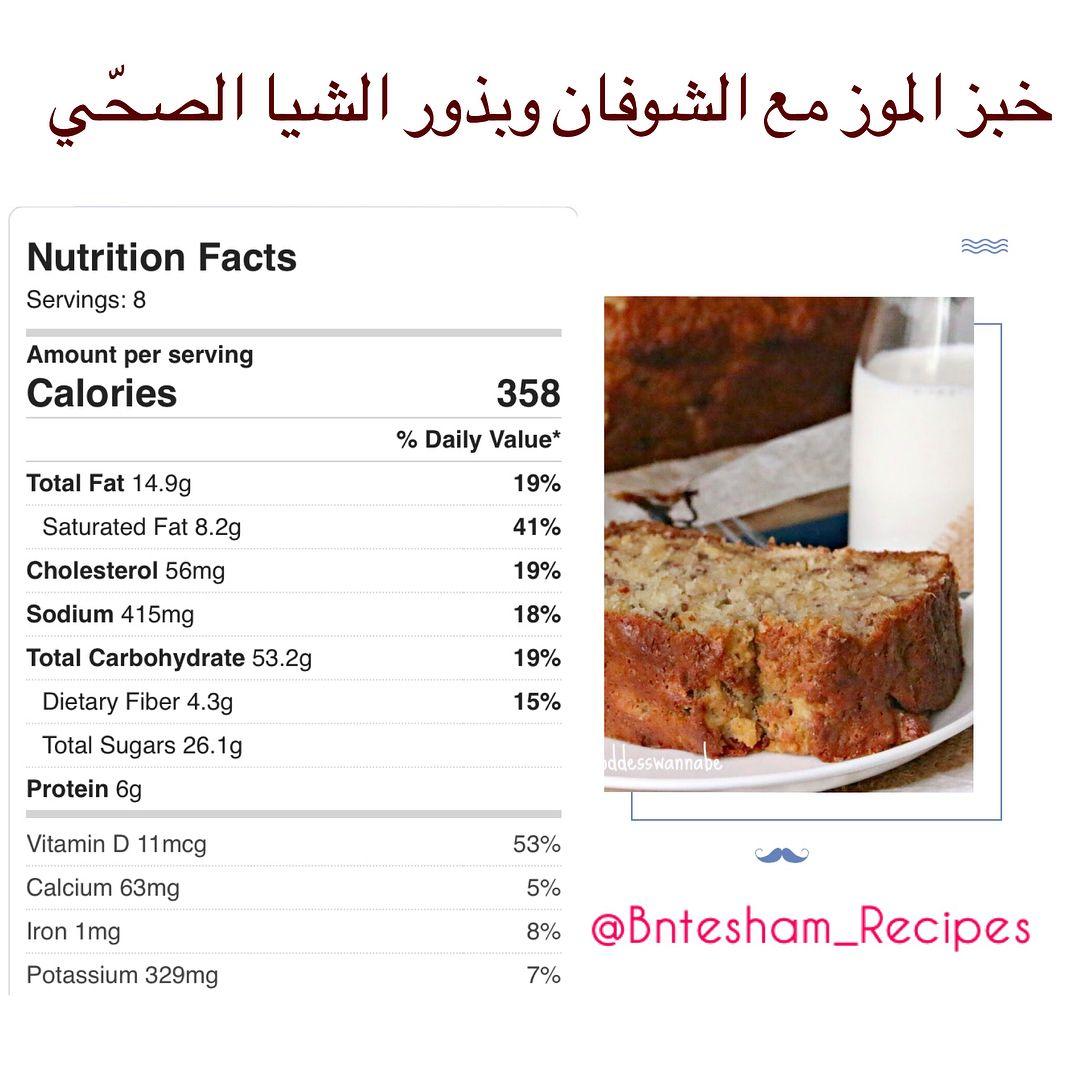 خبز الموز مع الشوفان وبذور الشيا الصح ي Food Nutrition Facts Recipes