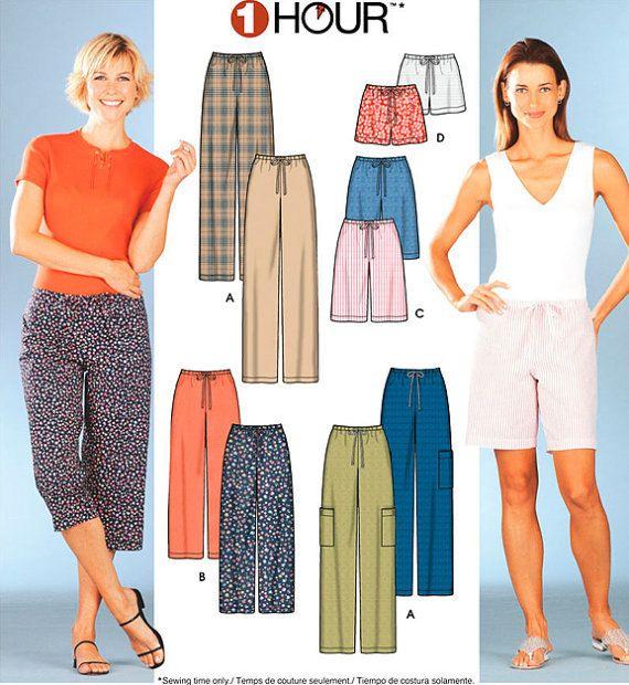 Misses Pants Shorts Capri Sewing Pattern 5 Sizes Plus Size Too