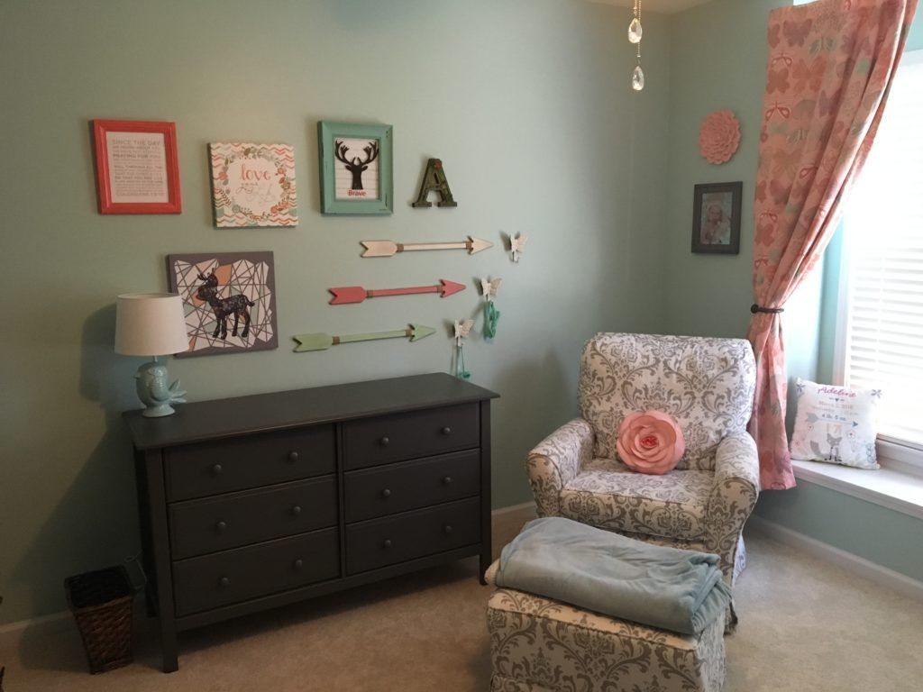 Pink mint and gray baby girl nursery project nursery - Project Nursery Woodland Girl S Nursery In Mint Coral And Gray