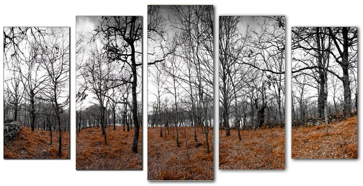 Cuadro paisaje bosque en invierno lienzo 5 piezas for Cuadros plateados baratos