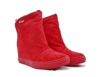 Nowosc Sneakersy Koturn Zamsz Suwak Czerwone 6690431629 Oficjalne Archiwum Allegro Boots Shoes Wedge Boot