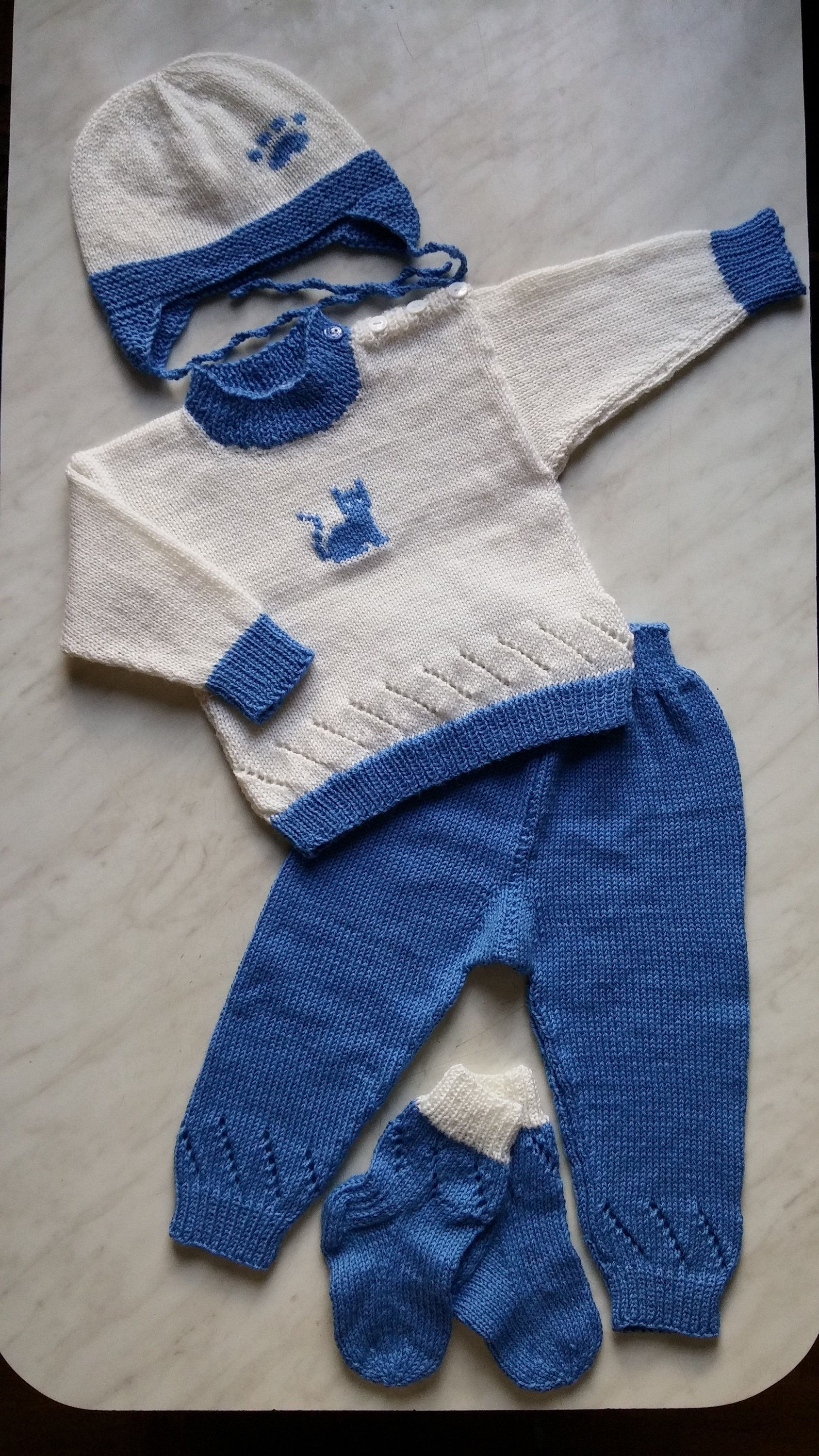 853ed1ee3 Knit Sweater Set with Cat  Hand Made Baby Boy Sweater