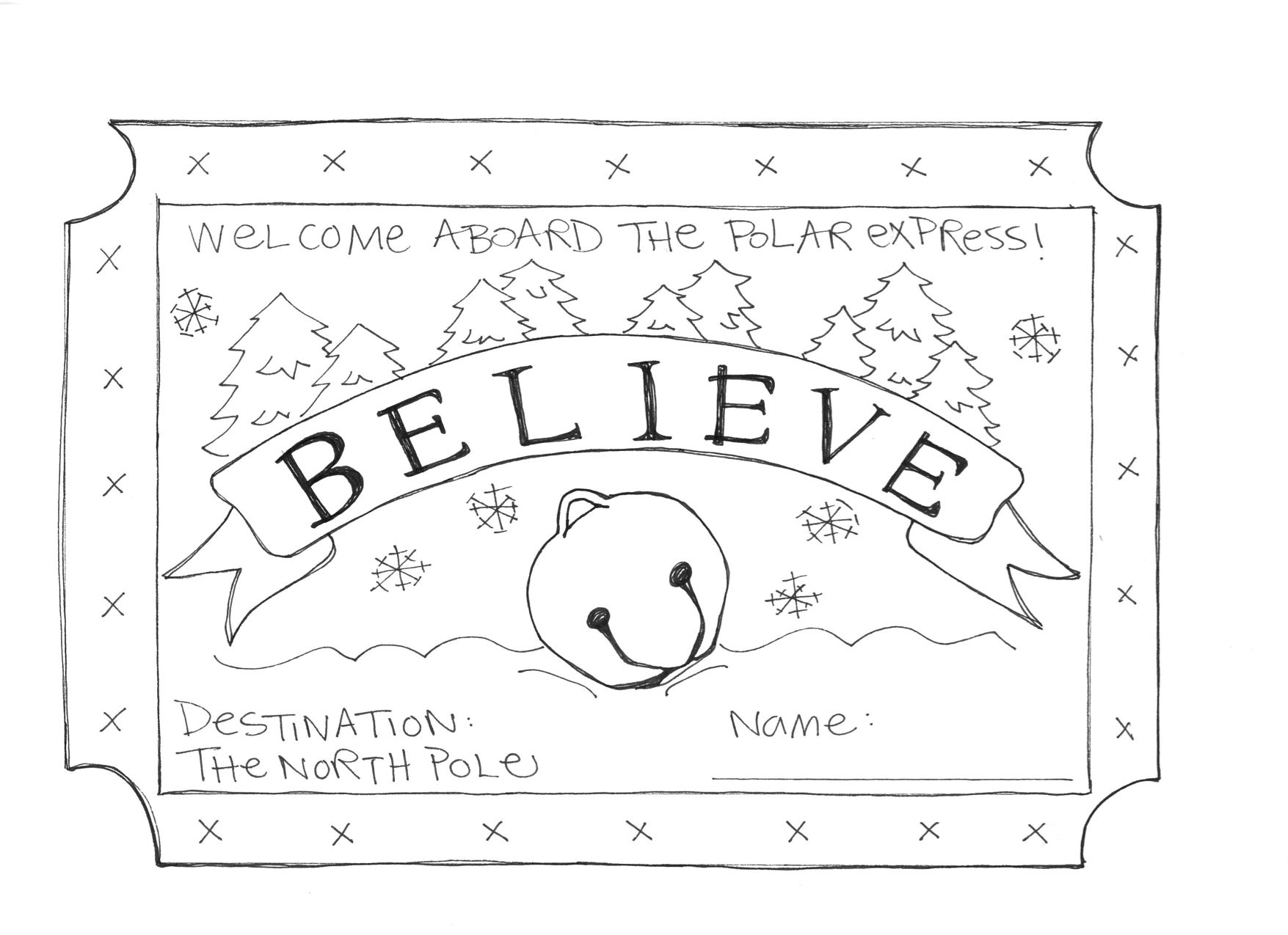 Made This Coloring Sheet For A Polar Express Themed Children S Event Thought Some Of My Teac Polar Express Activities Polar Express Theme Polar Express Crafts
